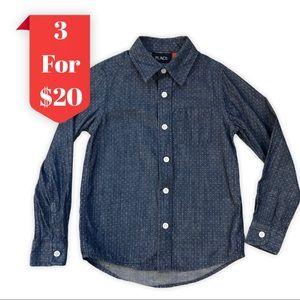 Children's Place Boys Chambray Collar Button Down